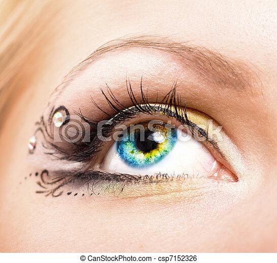 hermoso, maquillaje, ojo - csp7152326
