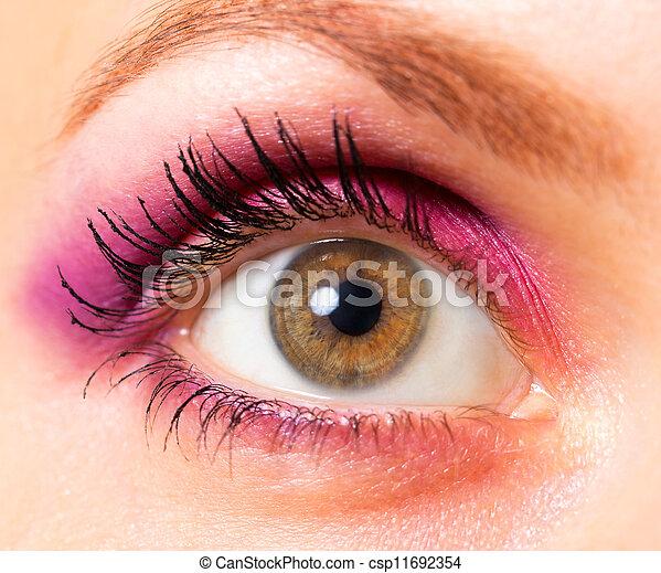 hermoso, marrón, primer plano, mujer, ojo - csp11692354