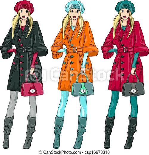 Vectoras hermosas chicas de moda de primera - csp16673318