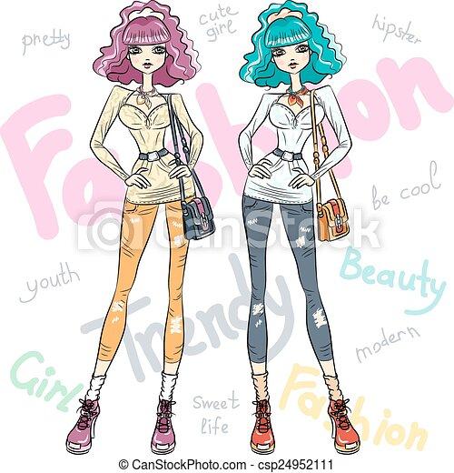 Vectoras hermosas chicas de moda de primera - csp24952111