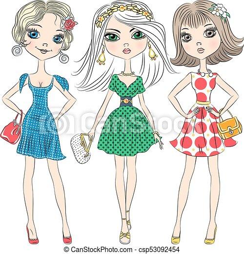 Vectoras hermosas chicas de moda de primera - csp53092454