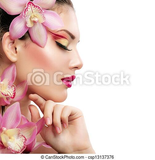 hermoso, modelo, belleza, aislado, girl., plano de fondo, blanco, woman. - csp13137376
