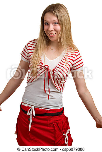Una joven hermosa en blanco - csp6079888