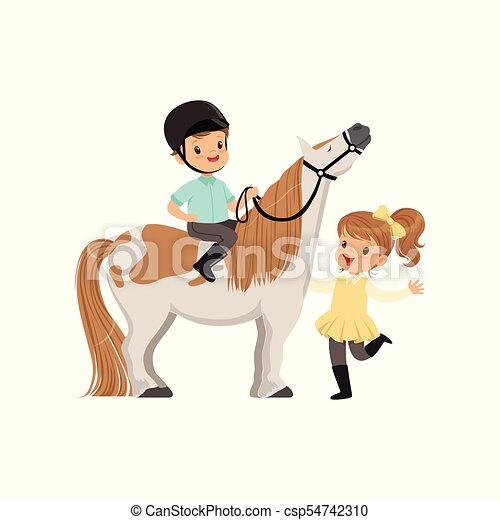 Un alegre jinete de niños sentado en un caballo, una hermosa chica parada junto a él, vector deportivo infantil vector Ilustración - csp54742310