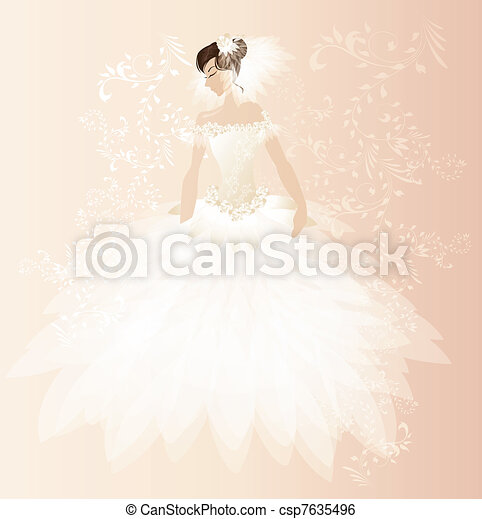 Bonita tarjeta de novia - csp7635496