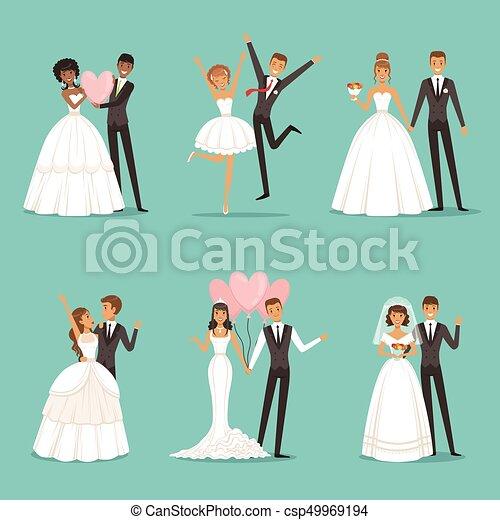 5f83d8c7a hermoso, novias, pareja, casado, style., set., diseño, caracteres, boda,  mascota, caricatura, ropa