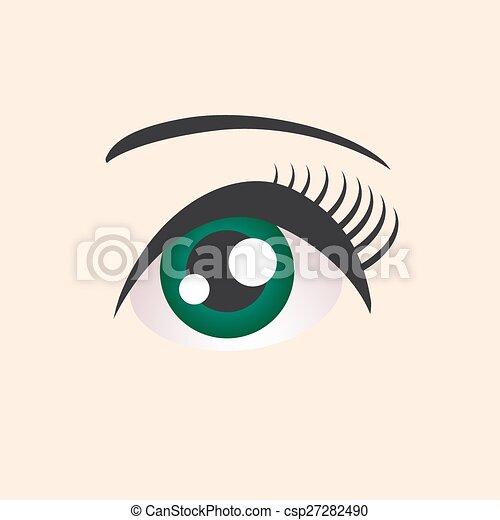 Hermoso ojo verde femenino en el fondo beige. Vector - csp27282490