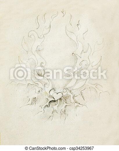 Hermoso Dibujo De Lápiz Ornamental En Papel Viejo Corazón Y