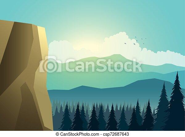 Hermoso paisaje de montañas y pinos - csp72687643