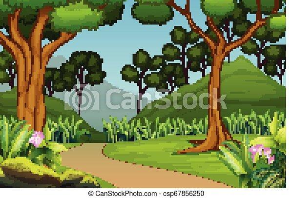 Hermoso paisaje forestal con fondo de montaña - csp67856250