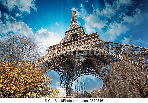 hermoso, parís, eiffel, cielo, colores, torre - csp13570546