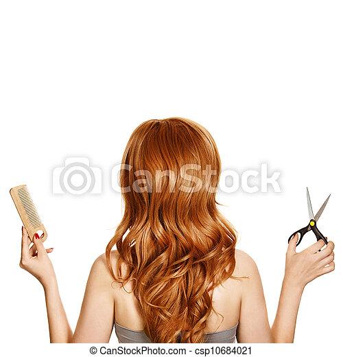 Hermoso cabello rizado y herramientas de peluquería - csp10684021