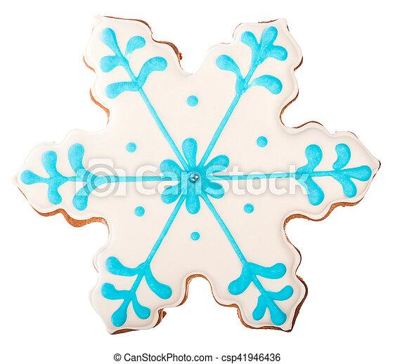 Un hermoso y delicioso copo de nieve de jengibre de jengibre de jengibre de Navidad aislado en fondo blanco - csp41946436