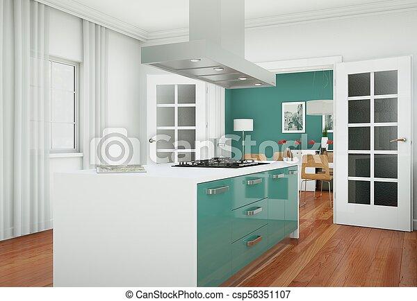 hermoso, plano, moderno, diseño, cocina verde