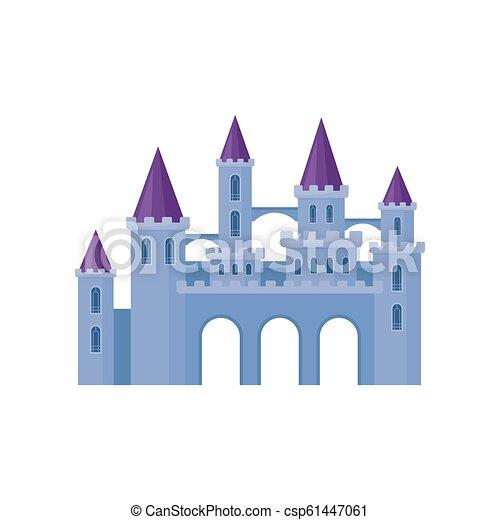 Hermoso castillo púrpura con torres y techos cónicos. Fortaleza medieval. Elemento vectorial plano para el libro infantil - csp61447061