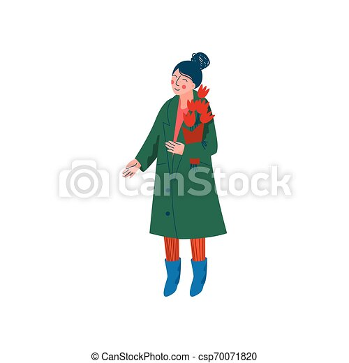 Hermosa mujer vestida con abrigo verde y sombrero tejido con ramo de flores de primavera ilustración vectorial - csp70071820