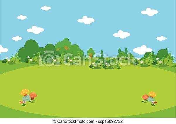 Hermoso prado verde con mushroo - csp15892732