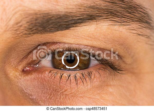 hermoso, primer plano, macho, ojo - csp48573451