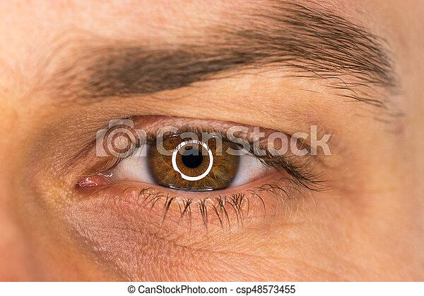 hermoso, primer plano, macho, ojo - csp48573455