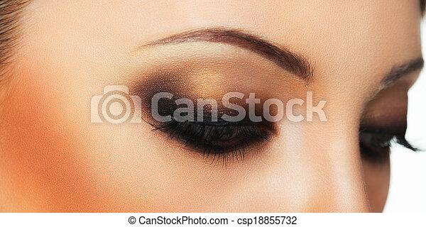 hermoso, primer plano, maquillaje, ojo - csp18855732
