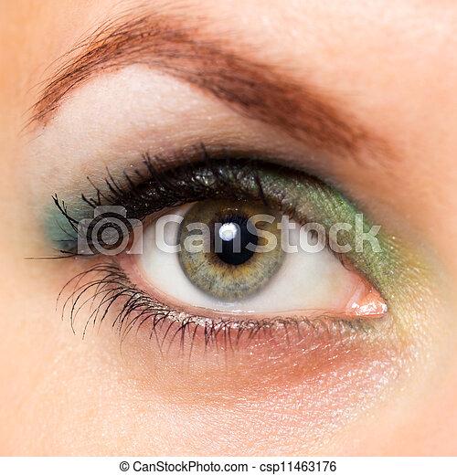hermoso, primer plano, mujer, ojo - csp11463176