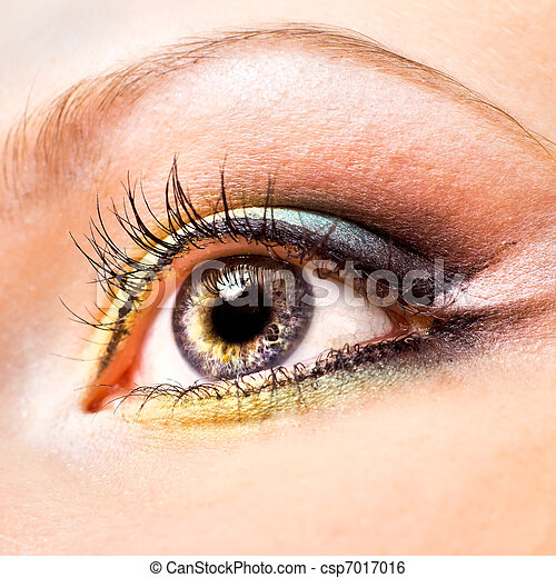 hermoso, primer plano, ojo, womanish - csp7017016