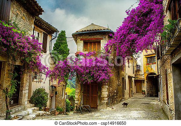 hermoso, pueblo, arte, viejo, provence - csp14916650