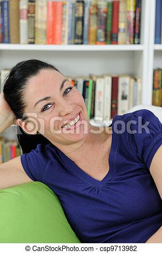 hermoso, retrato, mujer, maduro - csp9713982