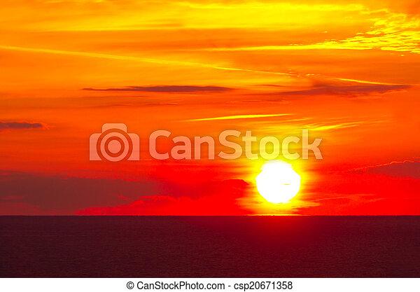 hermoso, salida del sol, mar - csp20671358