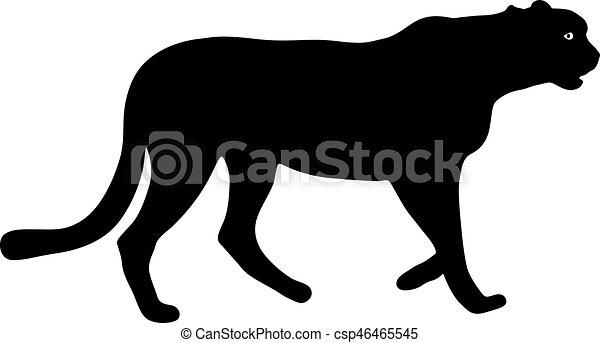 Silueta hermosa jaguar en un fondo blanco - csp46465545