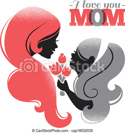 Hermoso Silueta Ella Madre Day Madre Hija Flores Tarjeta