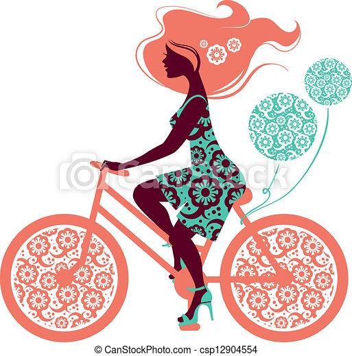 hermoso, silueta, niña, bicicleta - csp12904554