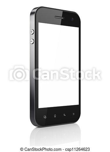 Hermoso teléfono de fondo blanco. Un móvil inteligente, 3d - csp11264623