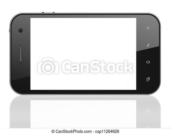 Hermoso teléfono de fondo blanco. Un móvil inteligente, 3d - csp11264626