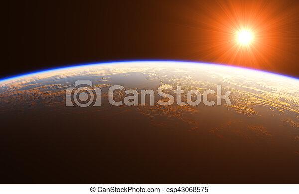 hermoso, tierra, encima, salida del sol - csp43068575