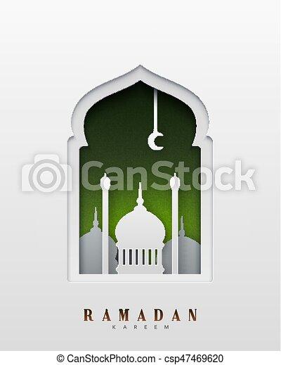 Ramadan Kareem hermoso diseño de arte de papel y estilo artesanal. Tarjeta de bienvenida. Ilustración de vectores - csp47469620