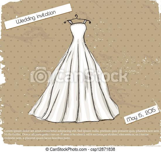 Afiche de vintage con hermoso vestido de novia. - csp12871838