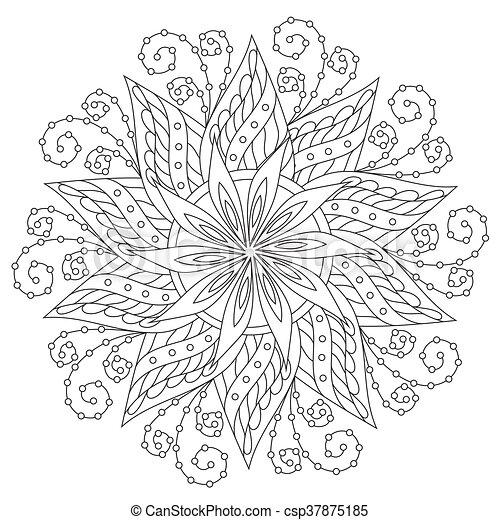 Coloreando Hermoso Mandala Vintage El Vector Delinea El Mandala