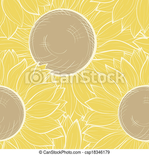 Hermoso fondo sin costura con girasoles antiguos - csp18346179
