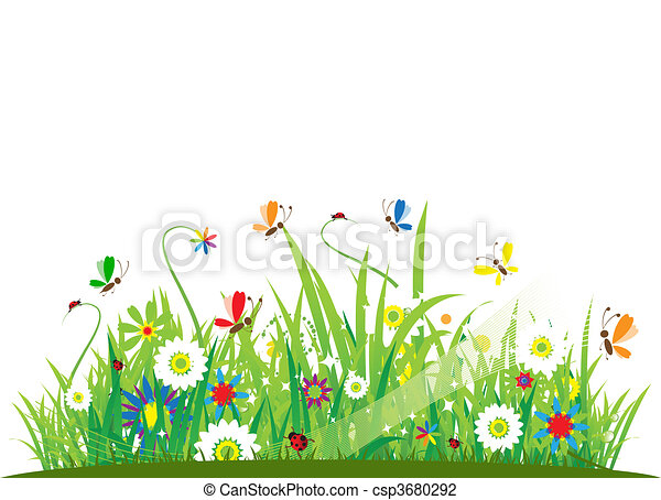hermoso, verano, pradera - csp3680292