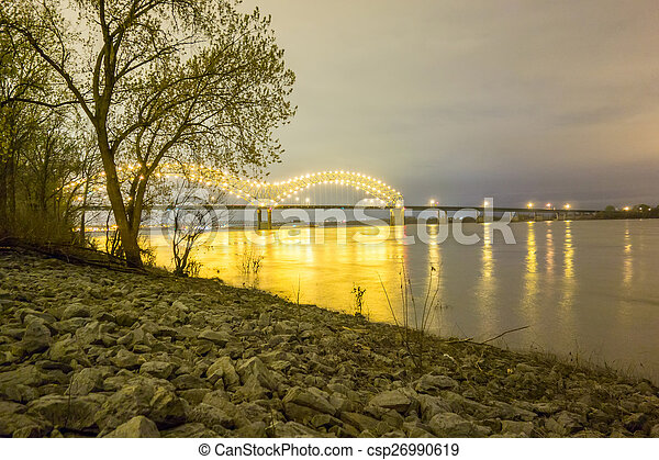 Hernando de Soto Bridge - Memphis Tennessee at night - csp26990619