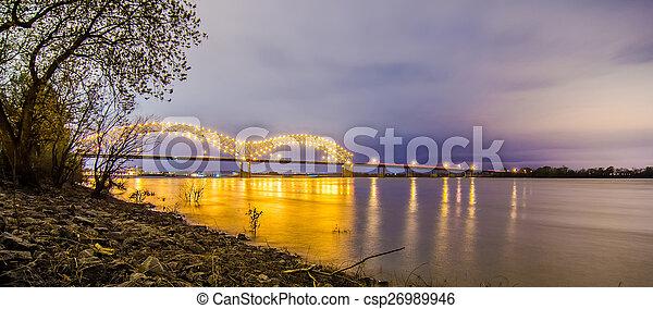 Hernando de Soto Bridge - Memphis Tennessee at night - csp26989946