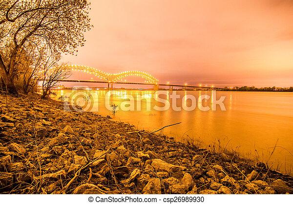 Hernando de Soto Bridge - Memphis Tennessee at night - csp26989930