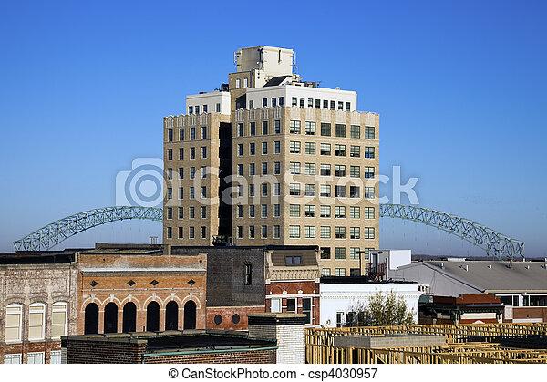 Hernando de Soto Bridge seen from downtown - csp4030957