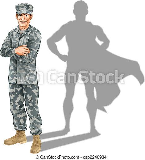 Hero soldier concept - csp22409341