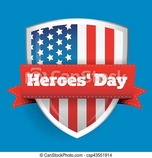 Heroes Day - Shield with US flag - csp43551914