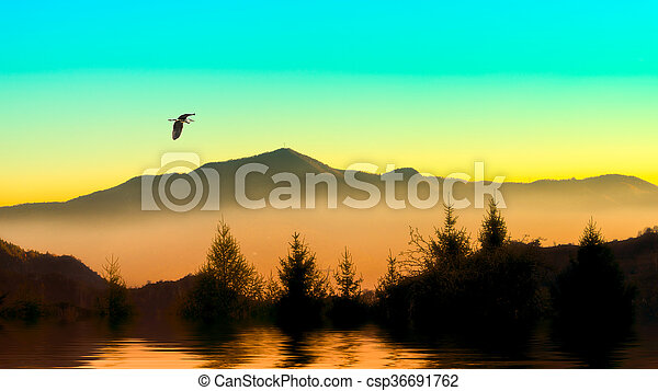 Heron in the mountains - csp36691762