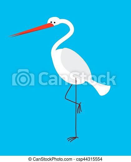 Heron isolated. Bird with long legs and beak - csp44315554
