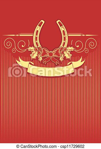 Horseshoe en el fondo de Navidad con decoraciones de bayas Holly - csp11729602