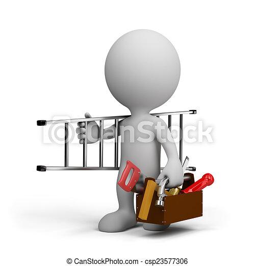 Carpintero con una herramienta - csp23577306